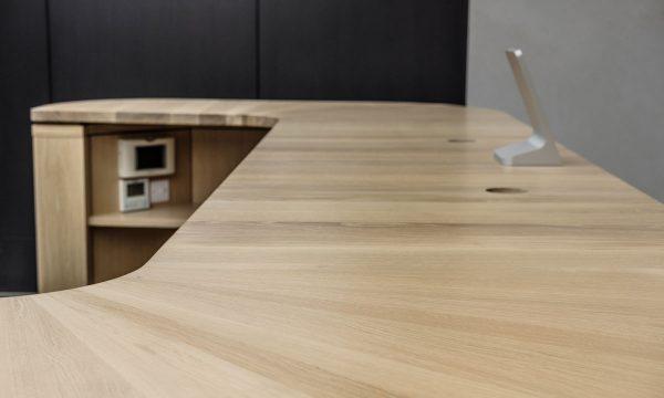 Close-up of oak reception desk - 42 Berners Street