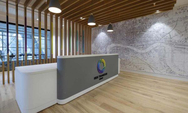 Reception desk and slat wall cladding - RTG (The Gherkin)