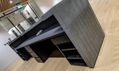 Concrete reception desk
