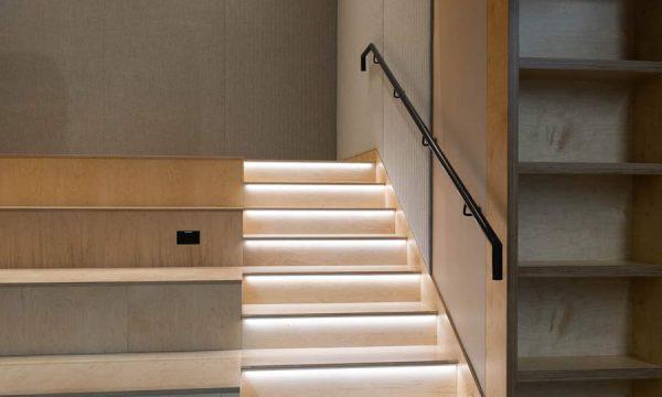 Illuminated staircase and seating at MVP